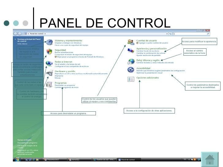 PANEL DE CONTROL Acceso a los detalles del equipo o a la  realización de copias de seguridad. Acceso al centro de segurida...