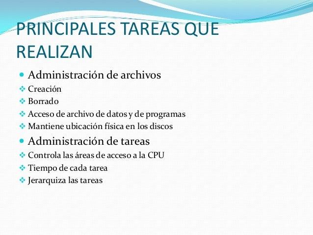 PRINCIPALES TAREAS QUEREALIZAN Administración de archivos Creación Borrado Acceso de archivo de datos y de programas ...