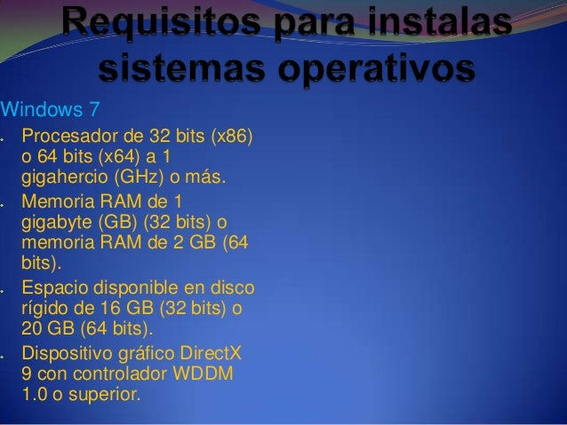Windows 7Procesador de 32 bits (x86)o 64 bits (x64) a 1gigahercio (GHz) o más.Memoria RAM de 1gigabyte (GB) (32 bits) omem...