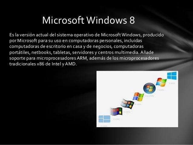 Es la versión actual del sistema operativo de Microsoft Windows, producido por Microsoft para su uso en computadoras perso...