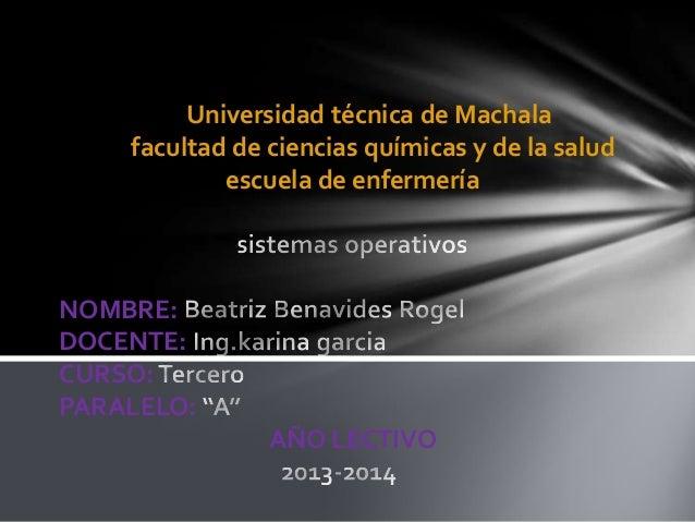 Universidad técnica de Machala facultad de ciencias químicas y de la salud escuela de enfermería  NOMBRE: DOCENTE: CURSO: ...