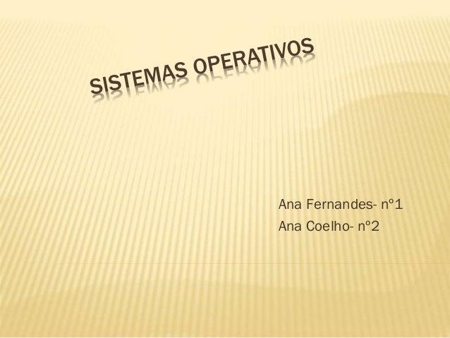 Ana Fernandes- nº1 Ana Coelho- nº2