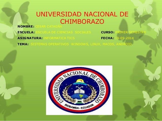 UNIVERSIDAD NACIONAL DE CHIMBORAZO NOMBRE: CESAR CATAGÑA ESCUELA: ESCUELA DE CIENCIAS SOCIALES CURSO: PRIMER SEMESTRE ASIG...