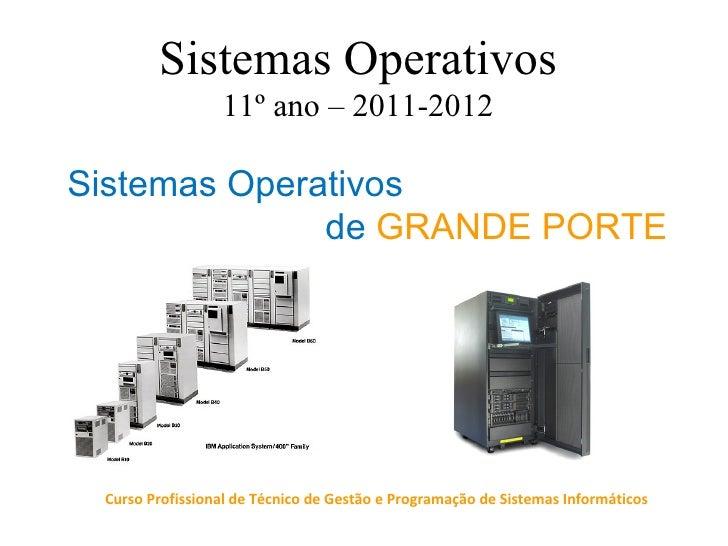 Sistemas Operativos                 11º ano – 2011-2012Sistemas Operativos              de GRANDE PORTE Curso Profissional...