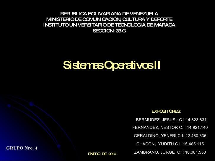 REPUBLICA BOLIVARIANA DE VENEZUELA MINISTERIO DE COMUNICACIÓN, CULTURA Y DEPORTE INSTITUTO UNIVERSITARIO DE TECNOLOGIA DE ...