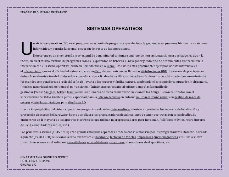 SISTEMAS OPERATIVOS<br />U<br />nsistema operativo(SO) es el programa o conjunto de programas que efectúan la gestión de...