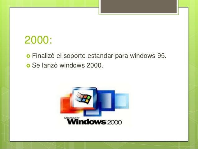 2000:  Finalizò el soporte estandar para windows 95.  Se lanzò windows 2000.