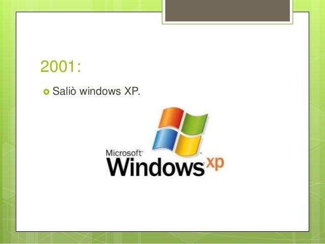 2001:  Saliò windows XP.