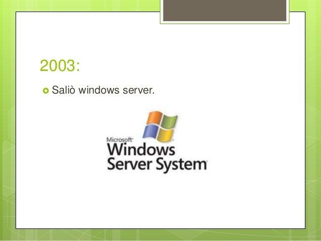 2003:  Saliò windows server.