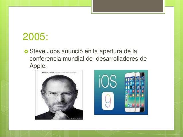 2005:  Steve Jobs anunciò en la apertura de la conferencia mundial de desarrolladores de Apple.