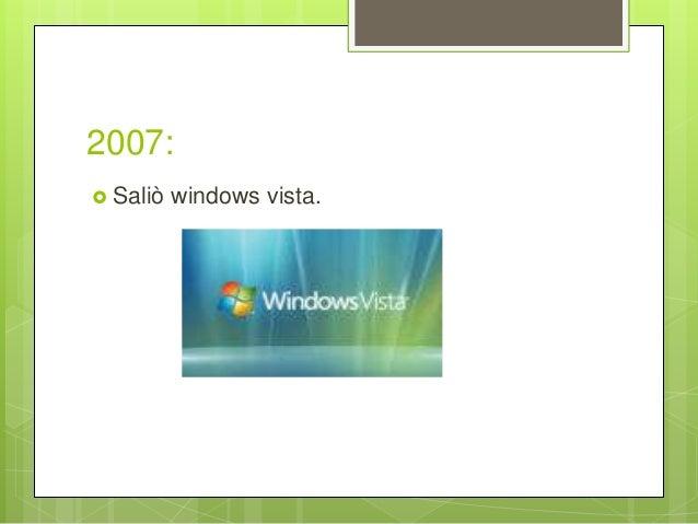 2007:  Saliò windows vista.