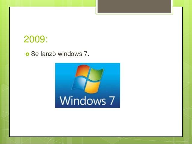 2009:  Se lanzò windows 7.
