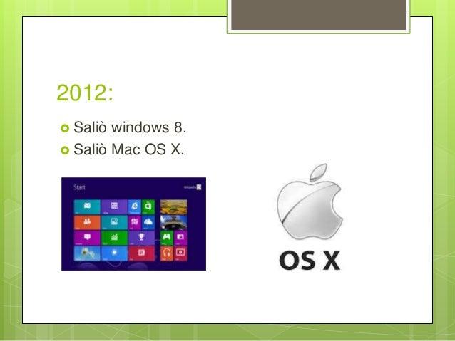 2012:  Saliò windows 8.  Saliò Mac OS X.
