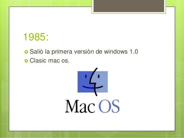 1985:  Saliò la primera versiòn de windows 1.0  Clasic mac os.