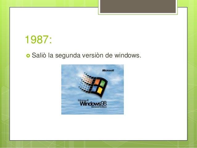 1987:  Saliò la segunda versiòn de windows.