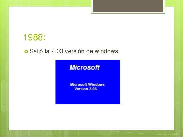 1988:  Saliò la 2.03 versiòn de windows.