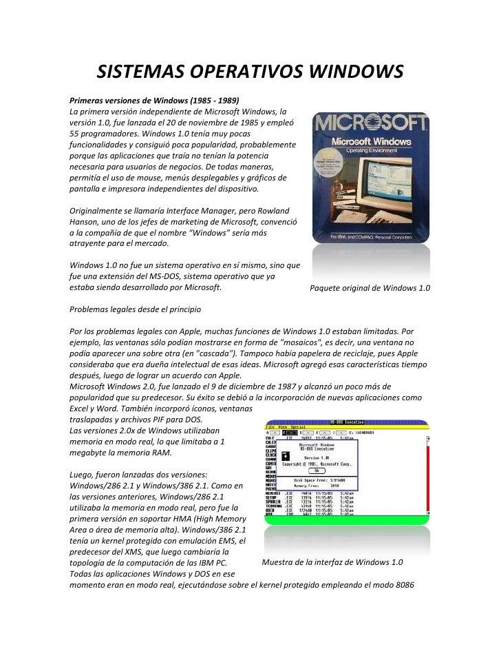 SISTEMAS OPERATIVOS WINDOWSPrimeras versiones de Windows (1985 - 1989)La primera versión independiente de Microsoft Window...