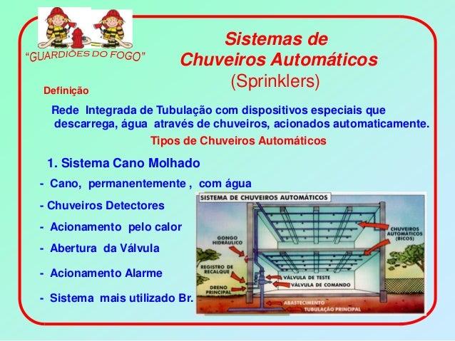 Sistemas de                         Chuveiros AutomáticosDefinição                              (Sprinklers)  Rede Integra...