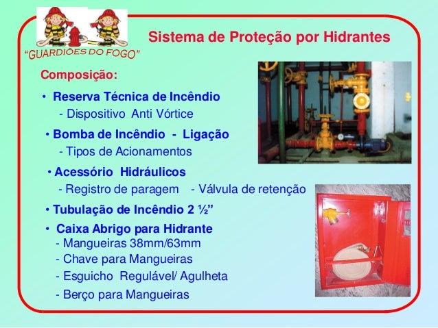 Sistema de Proteção por HidrantesComposição:• Reserva Técnica de Incêndio   - Dispositivo Anti Vórtice• Bomba de Incêndio ...