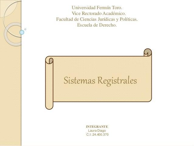 Universidad Fermín Toro. Vice Rectorado Académico. Facultad de Ciencias Jurídicas y Políticas. Escuela de Derecho. INTEGRA...