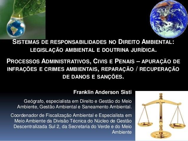 SISTEMAS DE RESPONSABILIDADES NO DIREITO AMBIENTAL: LEGISLAÇÃO AMBIENTAL E DOUTRINA JURÍDICA. PROCESSOS ADMINISTRATIVOS, C...