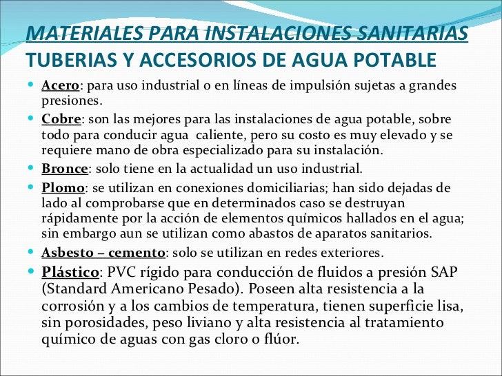 Sistemas sanitarios - Tuberias para agua potable ...