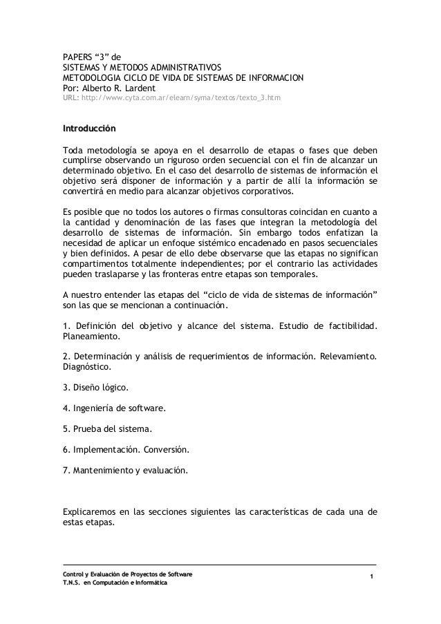 """Control y Evaluación de Proyectos de Software  T.N.S. en Computación e Informática  1  PAPERS """"3"""" de  SISTEMAS Y METODOS A..."""