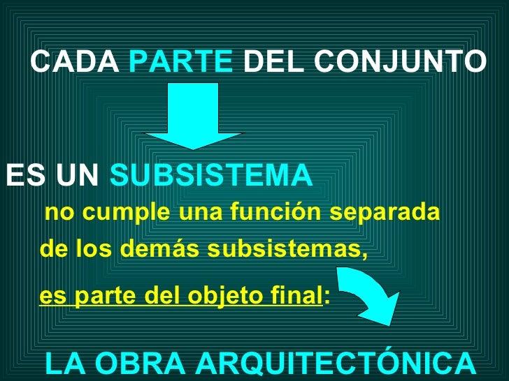Sistemas y subsistemas 2011 for Obra arquitectonica definicion