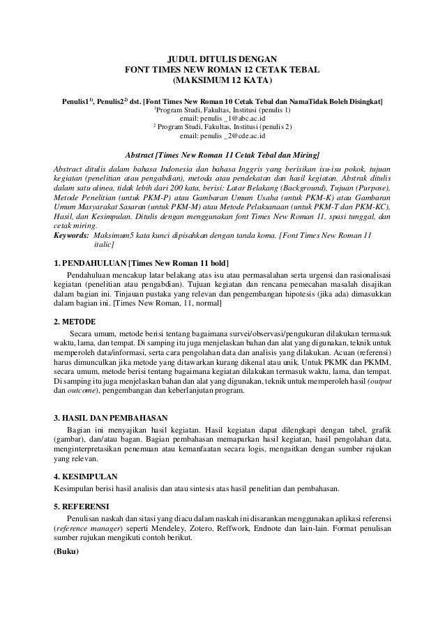 Sistematika Penulisan Artikel Pkm