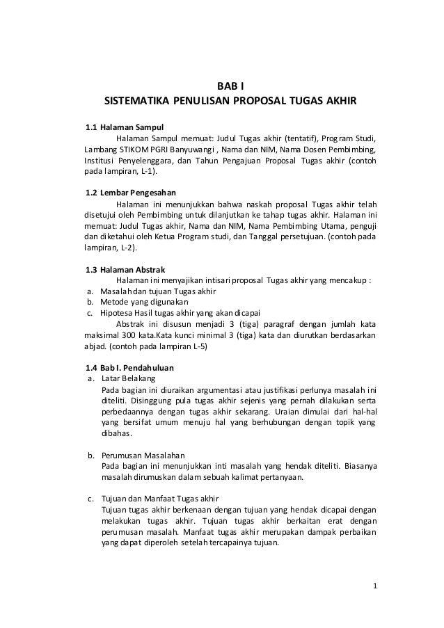 Sistematika Penulisan Proposal Laporan Ta Stikom Banyuwangi