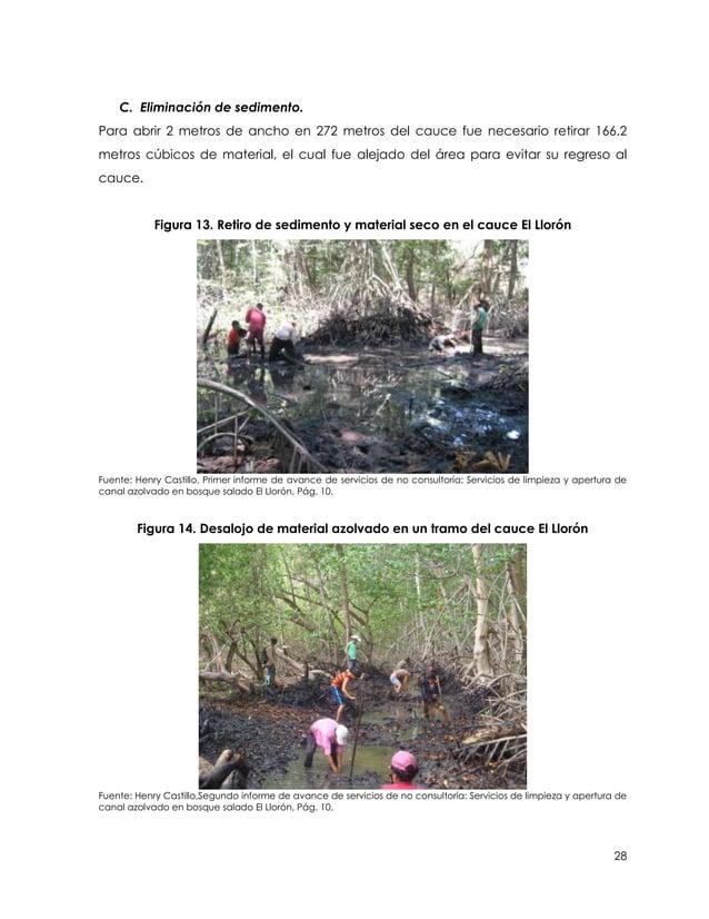 C. Eliminación de sedimento.Para abrir 2 metros de ancho en 272 metros del cauce fue necesario retirar 166.2metros cúbicos...