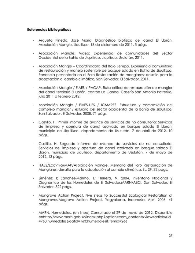 Referencias bibliográficas   -   Argueta Pineda, José María. Diagnóstico biofísico del canal El Llorón,       Asociación M...