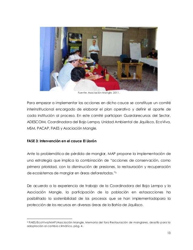 Fuente: Asociación Mangle, 2011.Para empezar a implementar las acciones en dicho cauce se constituye un comitéinterinstitu...