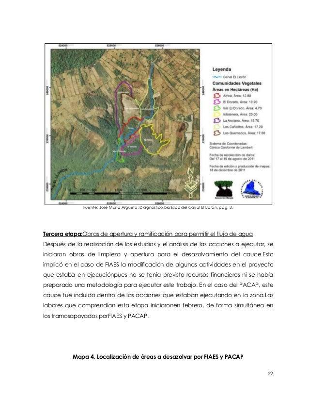 Fuente: José María Argueta, Diagnóstico biofísico del canal El Llorón, pág. 3.Tercera etapa:Obras de apertura y ramificaci...