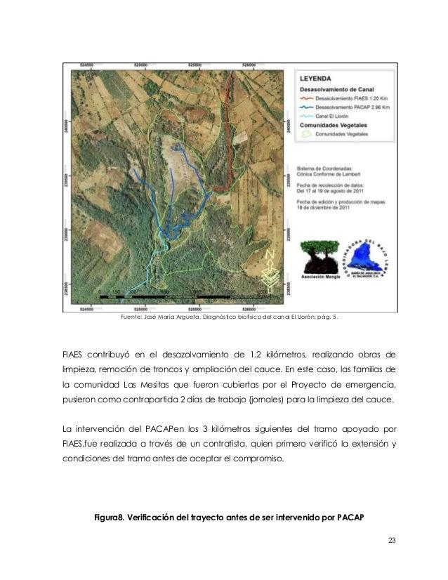Fuente: José María Argueta, Diagnóstico biofísico del canal El Llorón, pág. 5.FIAES contribuyó en el desazolvamiento de 1....