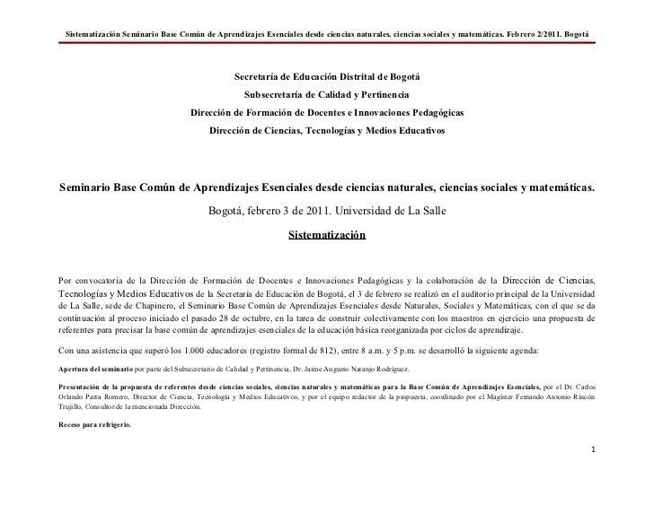Sistematización Seminario Base Común de Aprendizajes Esenciales desde ciencias naturales, ciencias sociales y matemáticas....