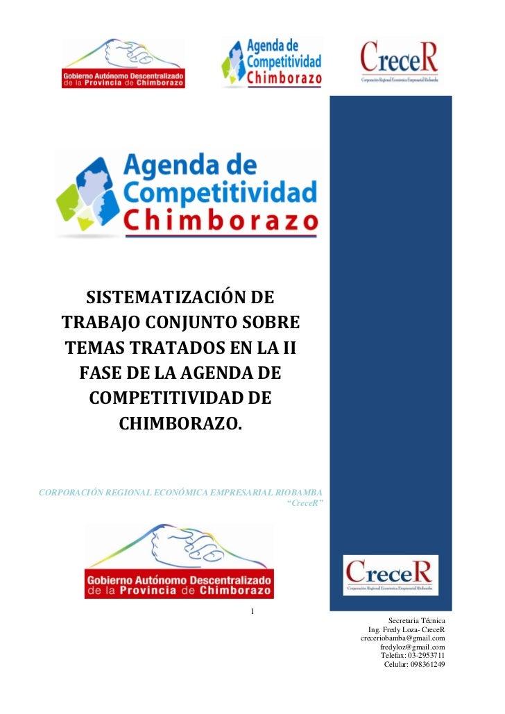 SISTEMATIZACIÓN DE    TRABAJO CONJUNTO SOBRE    TEMAS TRATADOS EN LA II     FASE DE LA AGENDA DE      COMPETITIVIDAD DE   ...