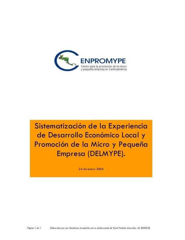 Sistematización de la Experiencia de Desarrollo Económico Local y Promoción de la Micro y Pequeña Empresa (DELMYPE). 24 de...