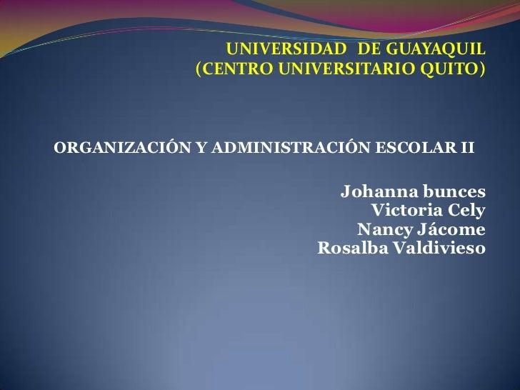 UNIVERSIDAD DE GUAYAQUIL <br />(CENTRO UNIVERSITARIO QUITO)<br />ORGANIZACIÓN Y ADMINISTRACIÓN ESCOLAR II<br />Johannabunc...