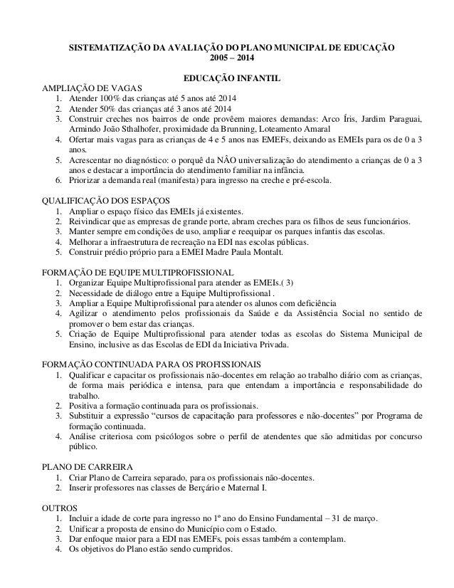 SISTEMATIZAÇÃO DA AVALIAÇÃO DO PLANO MUNICIPAL DE EDUCAÇÃO  2005 – 2014  EDUCAÇÃO INFANTIL  AMPLIAÇÃO DE VAGAS  1. Atender...
