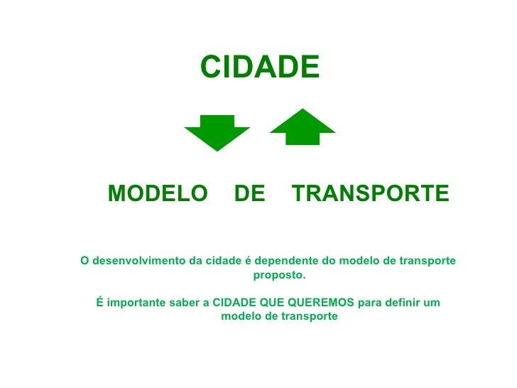<ul><li>MODELO  DE  TRANSPORTE </li></ul>CIDADE O desenvolvimento da cidade é dependente do modelo de transporte proposto....