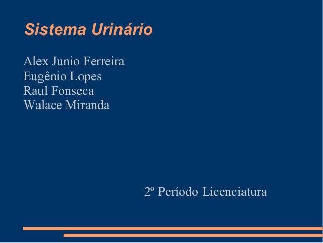Sistema UrinárioAlex Junio FerreiraEugênio LopesRaul FonsecaWalace Miranda                      2º Período Licenciatura