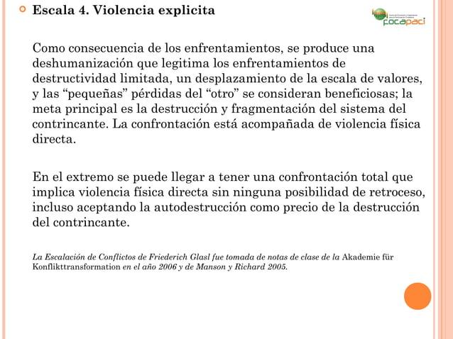    Escala 4. Violencia explicita    Como consecuencia de los enfrentamientos, se produce una    deshumanización que legit...