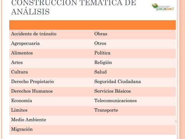 CONSTRUCCIÓN TEMÁTICA DEANÁLISISAccidente de tránsito   ObrasAgropecuaria            OtrosAlimentos               Política...