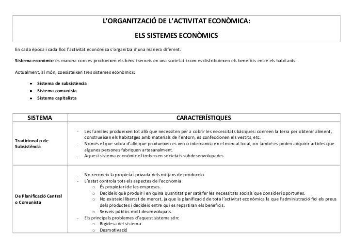 L'ORGANITZACIÓ DE L'ACTIVITAT ECONÒMICA:                                                           ELS SISTEMES ECONÒMICSE...