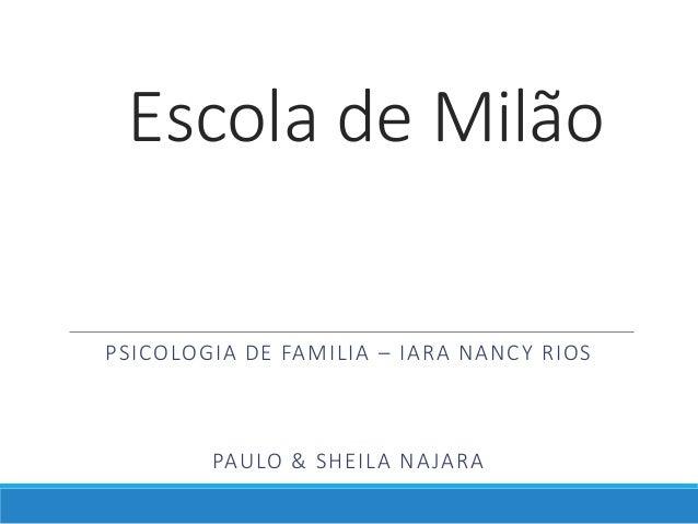 Escola de Milão PSICOLOGIA DE FAMILIA – IARA NANCY RIOS PAULO & SHEILA NAJARA