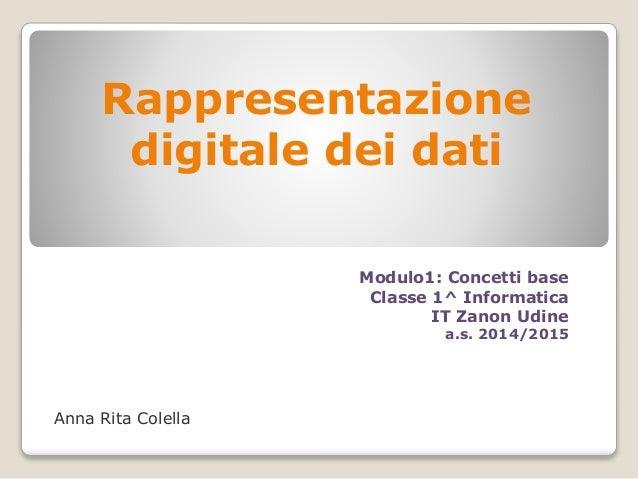 Rappresentazione digitale dei dati Anna Rita Colella Modulo1: Concetti base Classe 1^ Informatica IT Zanon Udine a.s. 2014...