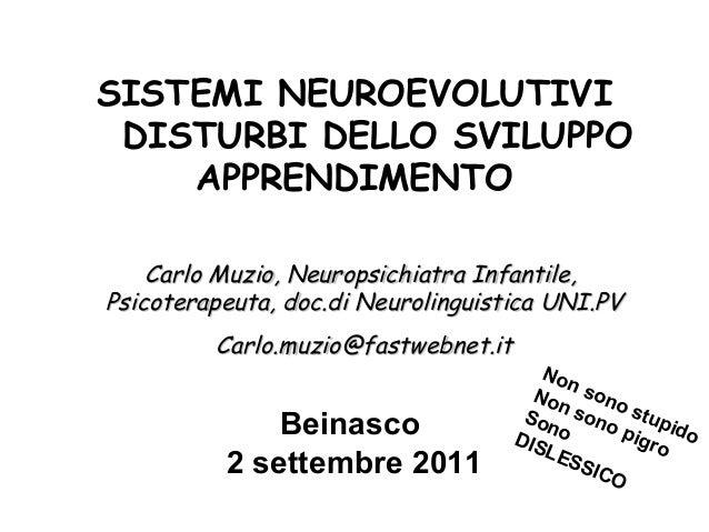 SISTEMI NEUROEVOLUTIVI DISTURBI DELLO SVILUPPO APPRENDIMENTO Carlo Muzio, Neuropsichiatra Infantile, Psicoterapeuta, do...