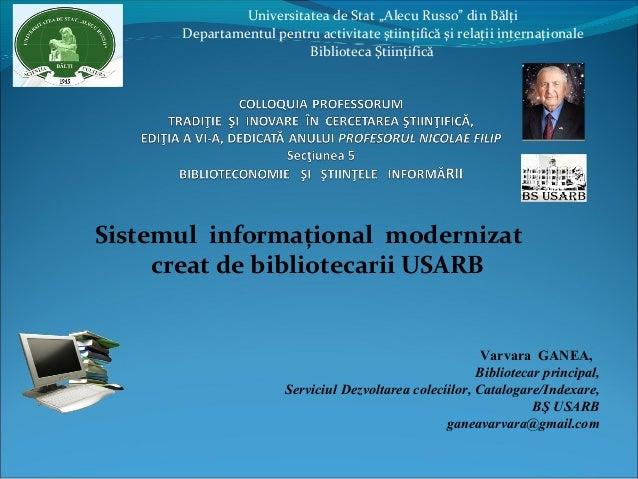 """Universitatea de Stat """"Alecu Russo"""" din Bălţi Departamentul pentru activitate ştiinţifică şi relaţii internaţionale Biblio..."""