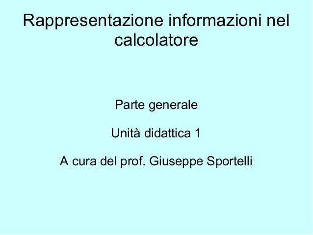 Rappresentazione informazioni nel calcolatore Parte generale Unità didattica 1 A cura del prof. Giuseppe Sportelli